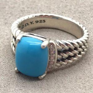 David Y 10x8mm Turquoise Diamond Ring Sz 7